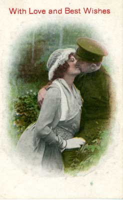 Valentines day postcard of soldier kissing a girl