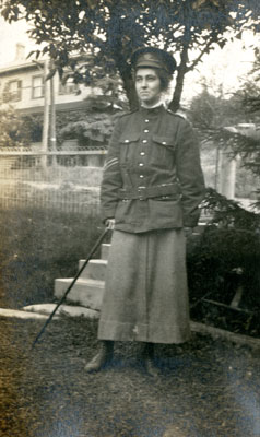 Photograph of a woman in military uniform