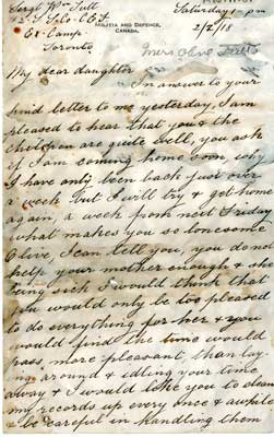 Letter from Sgt. W. Tutt to daughter