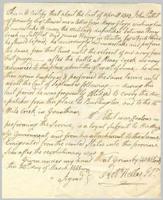 Certificate of Achievement- John Pettit, March 26, 1825