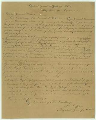 Militia General Orders, Kingston- August 18, 1815