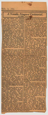 """A Notable Niagara Centennial""- Newspaper article written by Fred Williams"