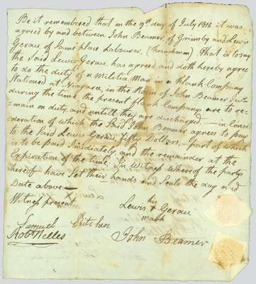 Handwritten agreement between John Beamer of Grimsby and Lewis Gerau of Grimsby- July 9, 1812,
