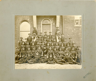 Group Photo Soldiers in front of old town hall Cayuga