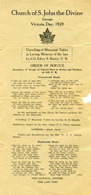 Church service itinerary for unveiling of memorial tablet for E.S. Baxter