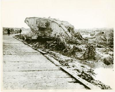 Overturned tank on Passchendael roadside