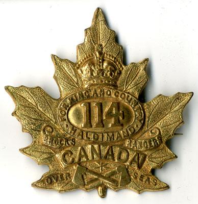 114th Battalion Maple Leaf pin