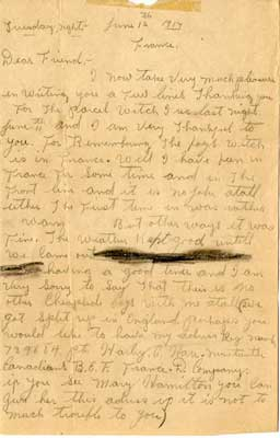 Letters from Pte. Harley C. Hare