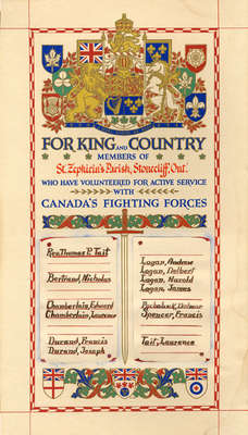 Honour Roll: Members of St. Zephirin's Parish, Stonecliffe Ont., Who Enlisted with Canada's Fighting Forces