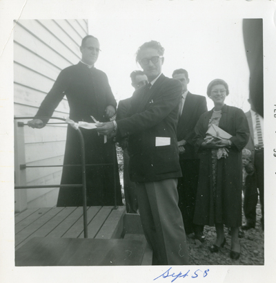 Ribbon Cutting at the Deux-Rivières Bilingual Separate School c.1958
