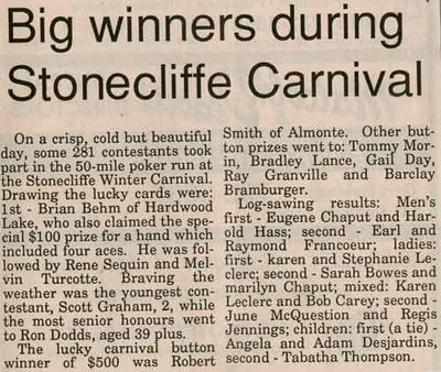 Big Winners During Stonecliffe Carnival