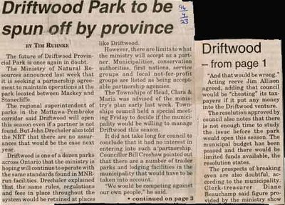 Driftwood Park to be Spun off by Province