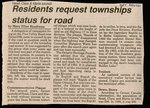 Residents Request Townships Status for Road