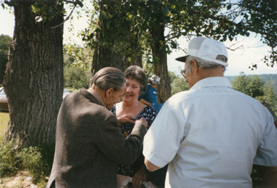Ferdie and Jean Boudreau: Pinning the Corsage c.1985