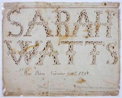 Birth note: Sarah Watts- 1798