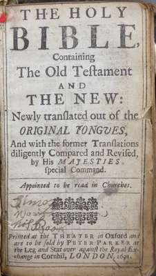 The Holy Bible containing the Old Testament and the New- 1691