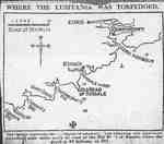 Map of where the Lusitania was torpedoed