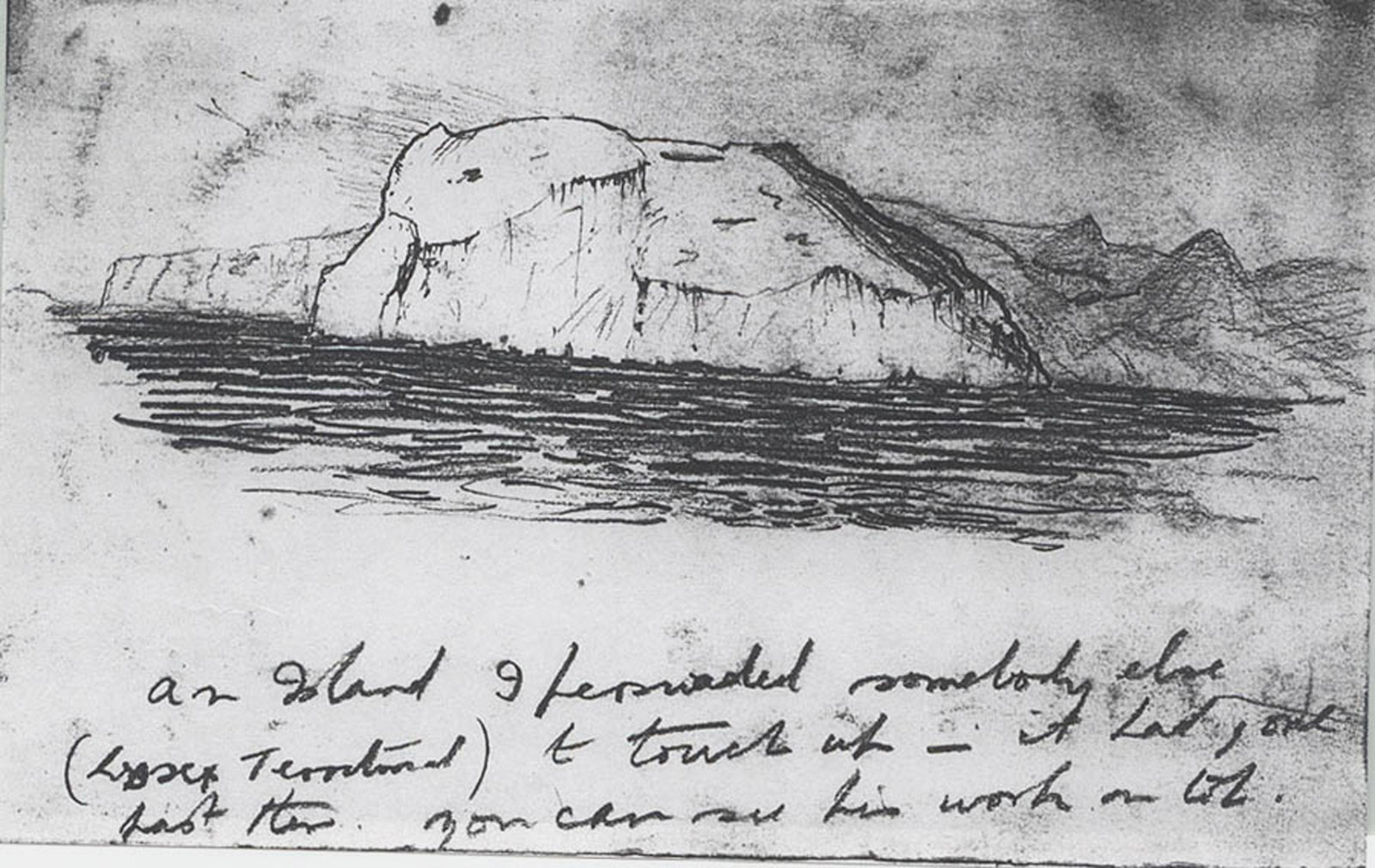 Drawing of land from sea