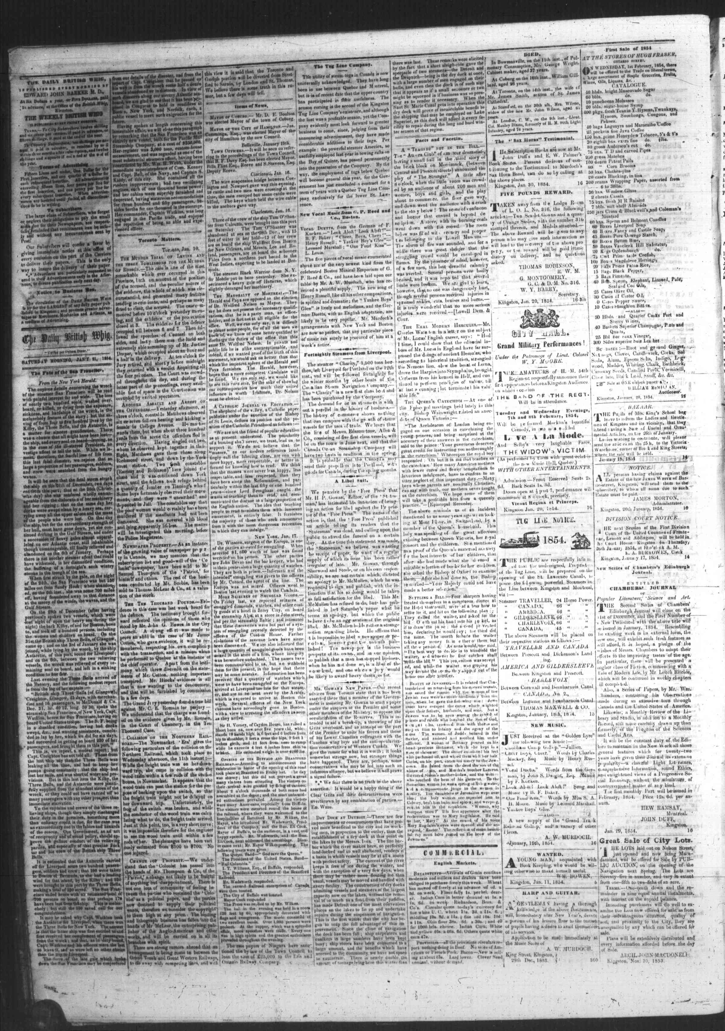 Daily British Whig (1850), 21 Jan 1854
