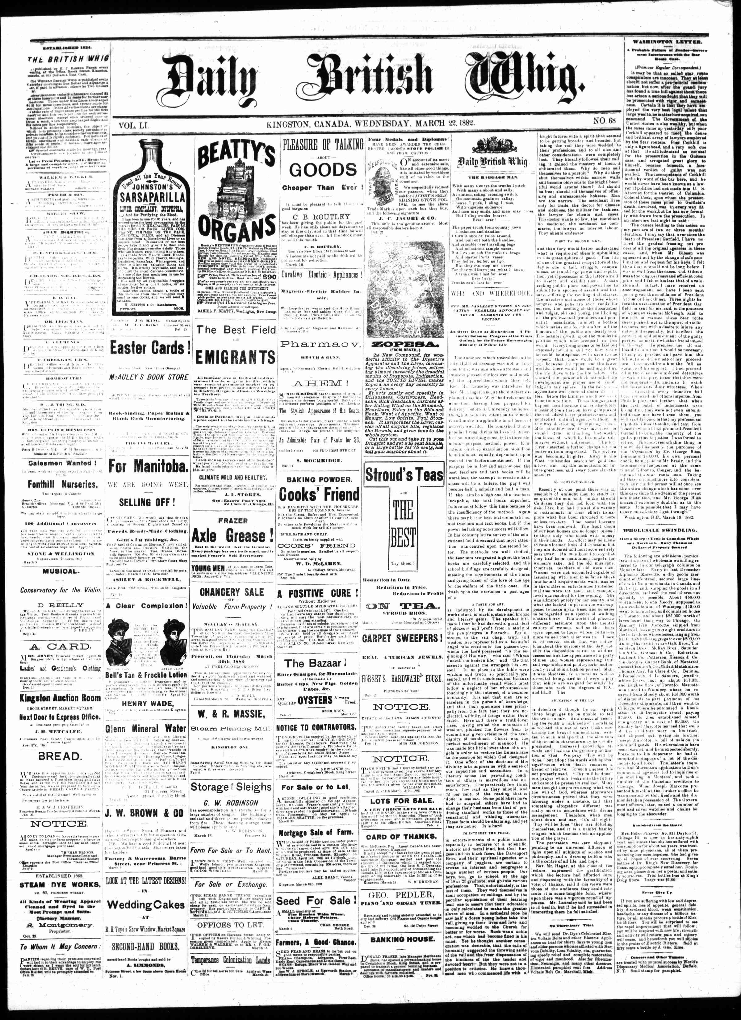 Daily British Whig (1850), 22 Mar 1882