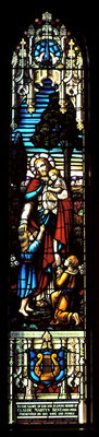 Christ blessing the children stained glass window: Knox Presbyterian Church, Oakville.