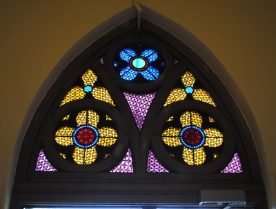 Stained glass above Narthex door, Knox Presbyterian Church, Oakville.