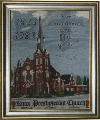 Petitpoint picture of Knox Presbyterian Church.