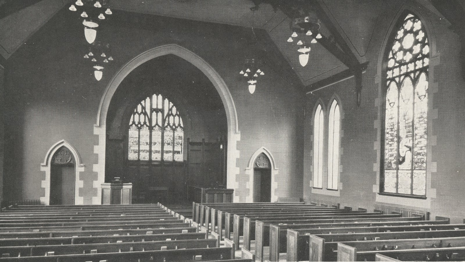 Knox Presbyterian Church, Oakville: Interior circa 1933.