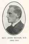 Reverend John McNair:  Minister of Knox Presbyterian Church, Oakville, 1898-1909.