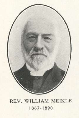 Reverend William Meikle:  Minister of Knox Presbyterian Church, Oakville, 1867-1890.