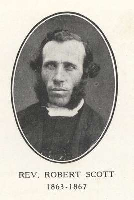 Reverend Robert Scott: Minister of Knox Presbyterian Church, Oakville, 1863-1867.