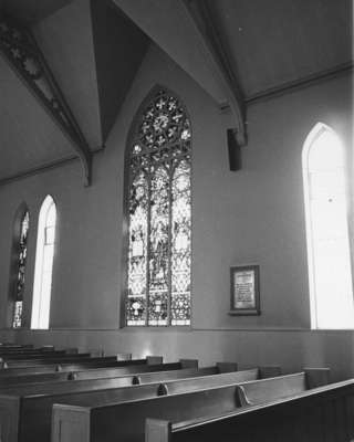 Good Shepherd window in memory of John and Jane Barclay, c. 1900, sanctuary and pews.
