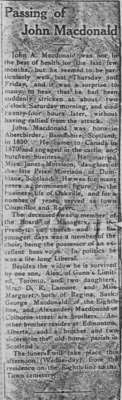Newsclipping: Passing of John MacDonald.