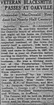 News clipping: Veteran blacksmith passes at Oakville: Alexander MacDonald resident for nearly half century.