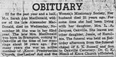News clipping: Obituary for Sarah Ann MacDonald, 1955.