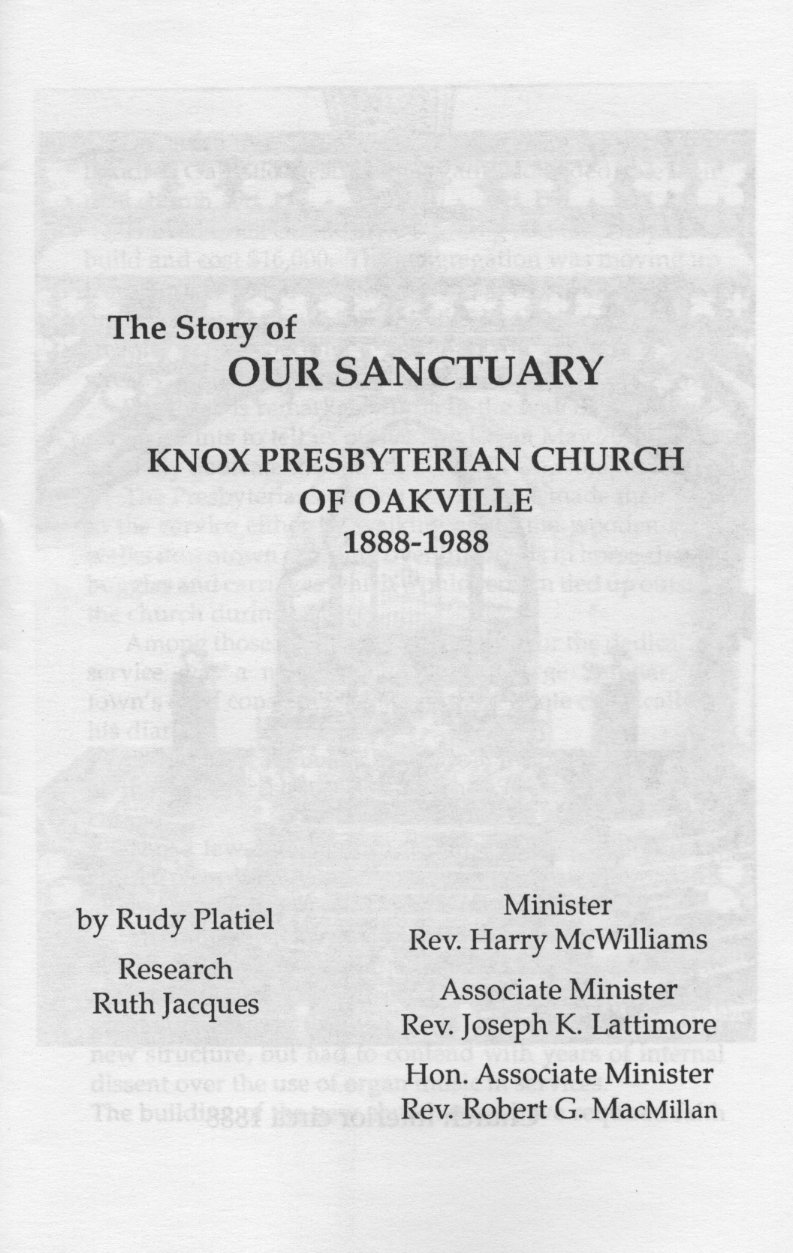 Knox Presbyterian Church, Oakville: The First One Hundred Years.