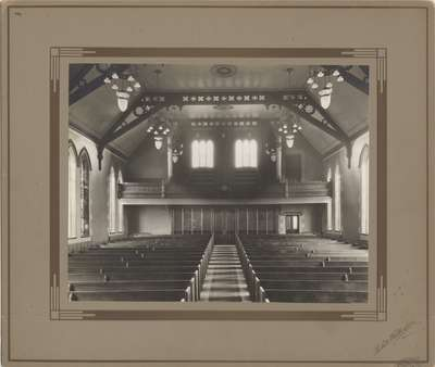 Knox Presbyterian Church, Oakville: interior 1920.