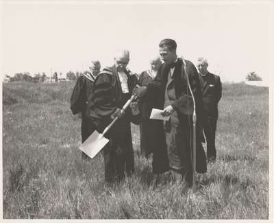 Wynford Drive groundbreaking: now the national office of the Presbyterian Church in Canada, 50 Wynford Drive, Toronto.