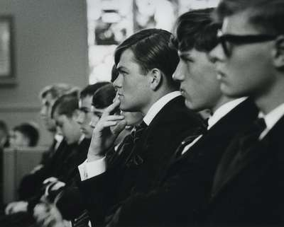 Appleby College boys attend the service, Knox Presbyterian Church, Oakville (up to 1971).