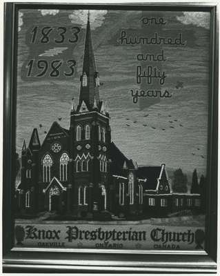 Petitepoint of Knox Presbyterian Church, Oakville created for their 150th anniversary.