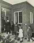 Children arriving for church school, Knox Presbyterian Church, Oakville.