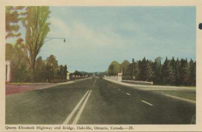Queen Elizabeth Highway and Bridge, Oakville, Ontario, Canada.