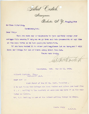 Letter from Gilbert Colish to Darling family