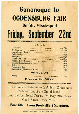 Steamer Schedule Gananoque to Ogdensburg Fair