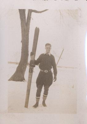 Richard Senecal Holding Homemade Skis