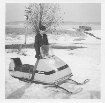 Snowmobile on Grenadier Island