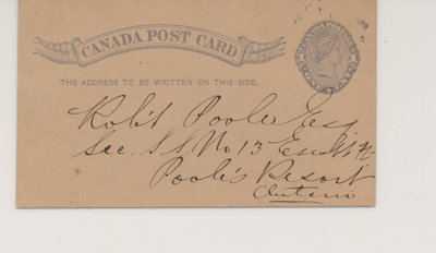 Postcard to Robert Poole