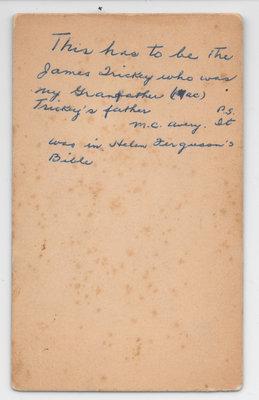 James Trickey Photograph, Verso