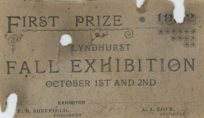 Lyndhurst Fall Exhibition Fair Prize
