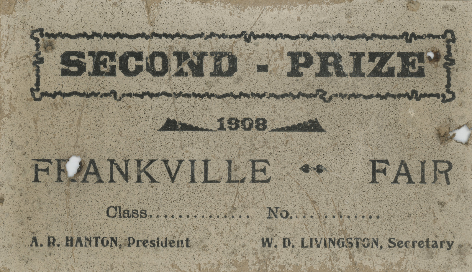 Frankville Fair Prize Certificate